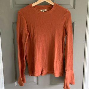 MADEWELL Burnt Orange Ribbed Bell Sleeve Tee M